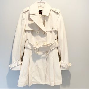 Miss Sixty Pleated Belted White Trench Coat Sz M